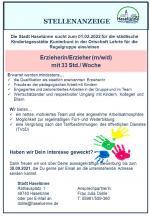 Stellenausschreibung; Erzieherin/Erzieher (m/w/d) für die KiTa Kunterbunt in der Ortschaft Lehrte