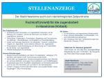 Stellenausschreibung; Fachkraft (m/w/d) fü Jugendarbeit in Haselünne (Vollzeit)