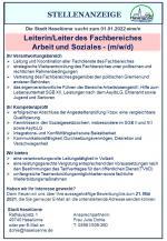Stellenausschreibung; Leiterin/Leiter des Fachbereiches Arbeit und Soziales (m/w/d)