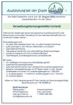 Stellenausschreibung; Auszubildende/n für den Beruf Verwaltungsfachangestellte/r (m/w/d)